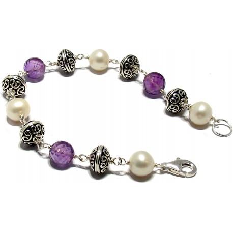 Bratara perle, ametist, argint 925