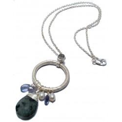 Colier cu labradorit, kyanite, perle orez si argint 925