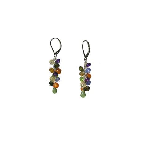 Cercei cu pietre multicolor din argint 925